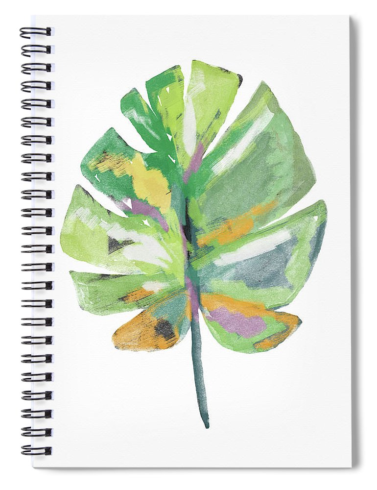 Leaf Spiral Notebook featuring the mixed media Watercolor Palm Leaf- Art By Linda Woods by Linda Woods