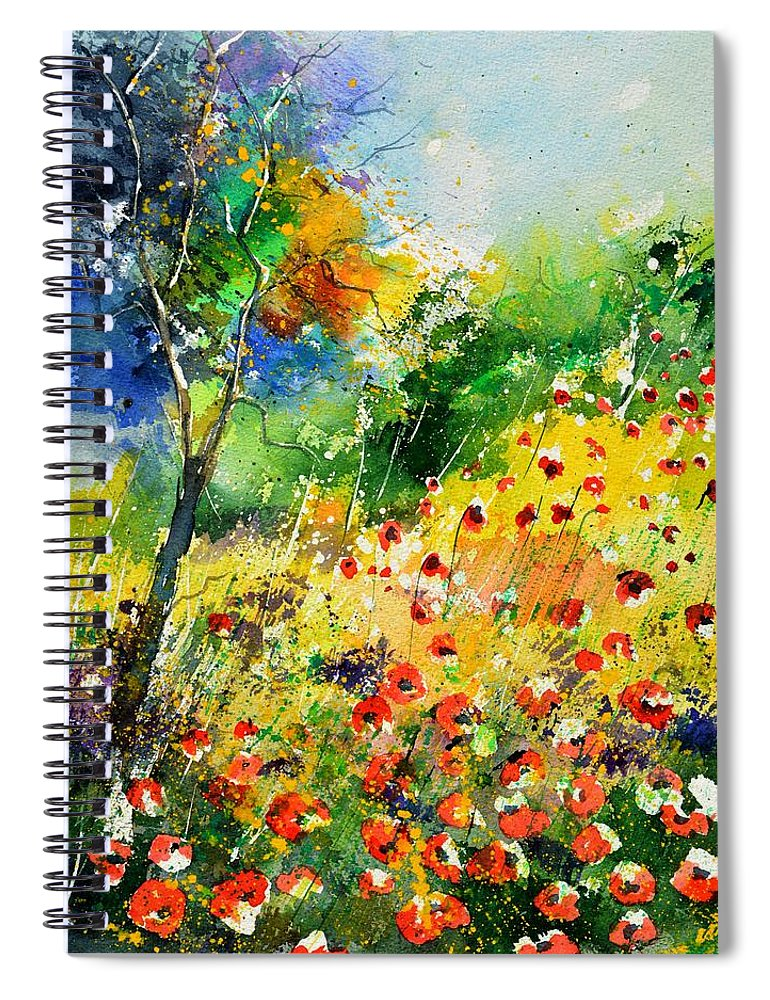 Poppies Spiral Notebook featuring the painting Watercolor poppies 518001 by Pol Ledent