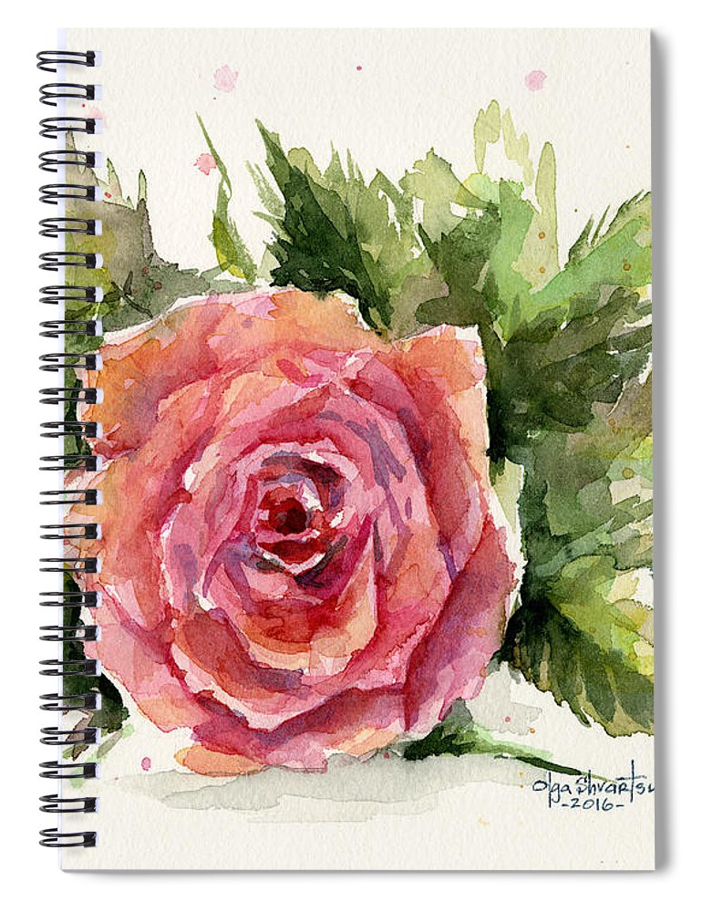 Rose Spiral Notebook featuring the painting Watercolor Rose by Olga Shvartsur