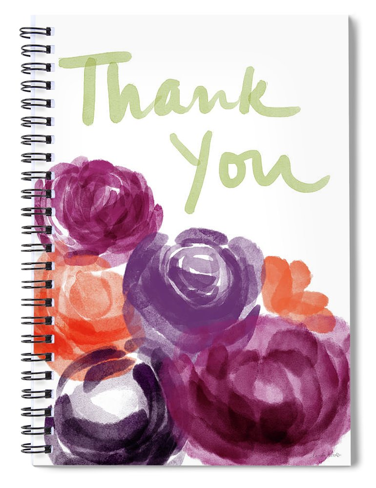 Thank You Spiral Notebook featuring the painting Watercolor Roses Thank You- Art By Linda Woods by Linda Woods
