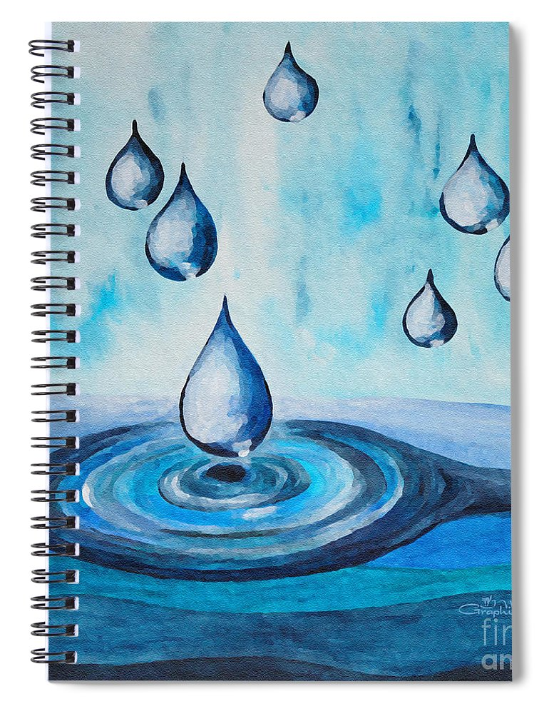 Watercolor Spiral Notebook featuring the painting Waterdrops by Jutta Maria Pusl