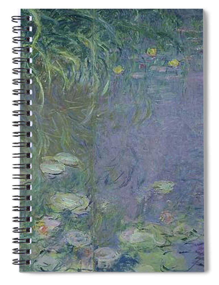 Impressionist;nympheas;matin;quadriptych;water;lily;lilies;waterlily Spiral Notebook featuring the painting Waterlilies Morning by Claude Monet