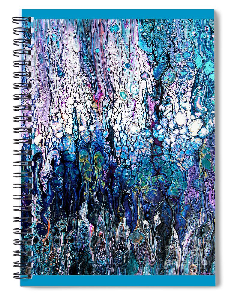 Compelling Engaging Ocean Colors Under Sea-vista Water Blue Bubbles Wave-foam Dynamic-pattern Vibrant Serene-colors Exciting Beautiful Full Of Colorful Horizontal Movement Spiral Notebook featuring the painting Wave traces #2414 by Priscilla Batzell Expressionist Art Studio Gallery