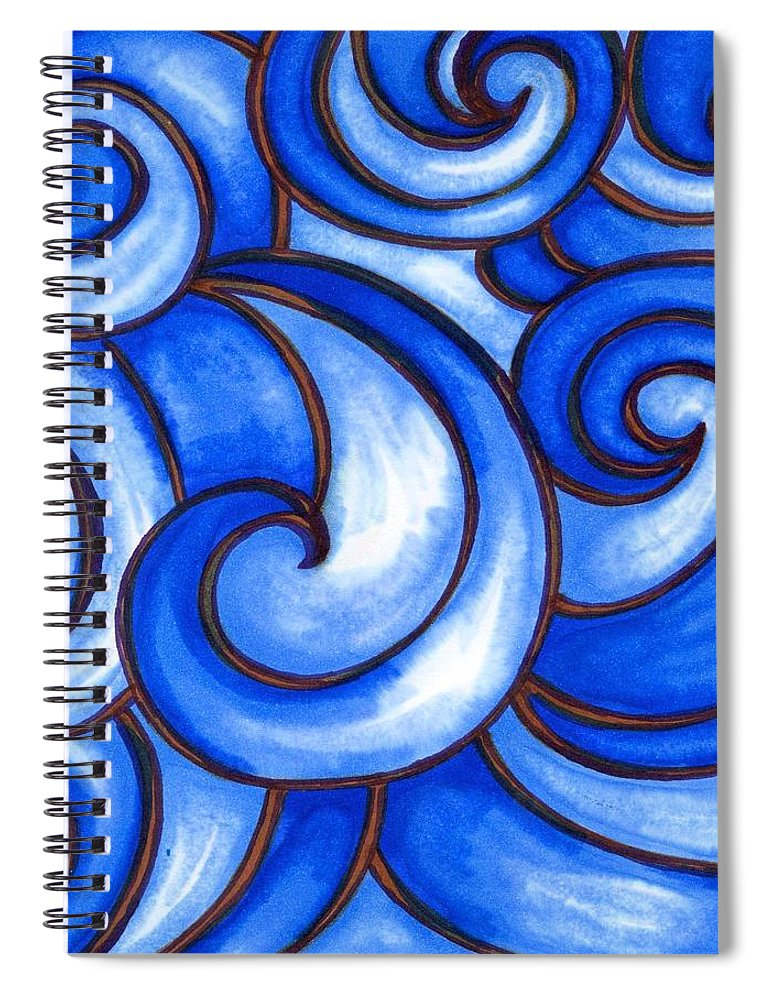Water Spiral Notebook featuring the painting Waves of Mercy by Vonda Drees