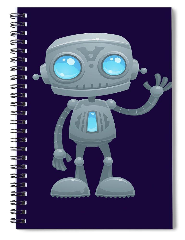Robot Spiral Notebook featuring the digital art Waving Robot by John Schwegel