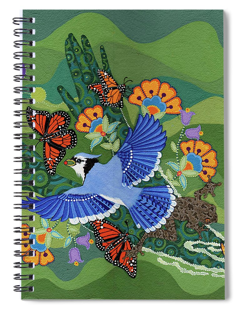 Water Spiral Notebook featuring the painting We Are One by Chholing Taha