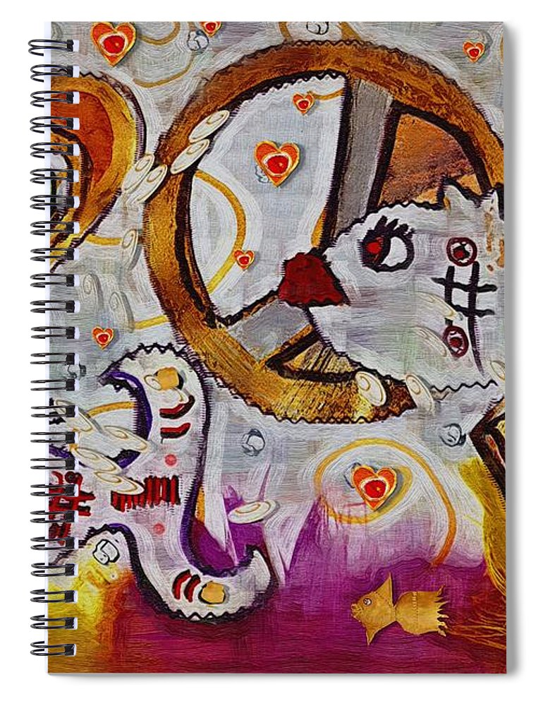Seascape Spiral Notebook featuring the mixed media We Wont You To Clean Our Water With Love by Pepita Selles