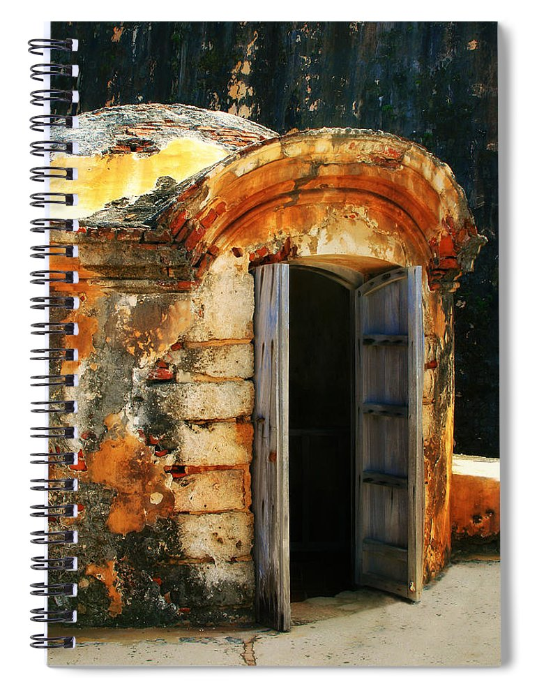 Fort Spiral Notebook featuring the photograph Weathered Entry by Perry Webster