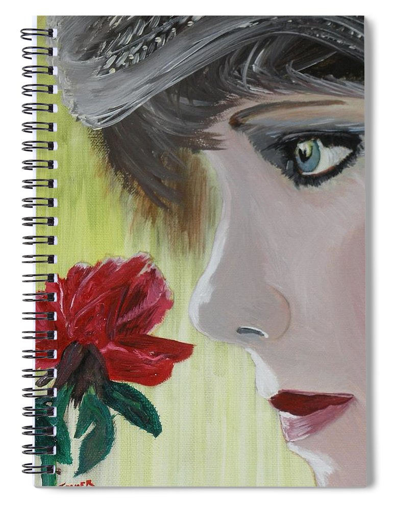 Romance Spiral Notebook featuring the painting Wedding Rose by J Bauer