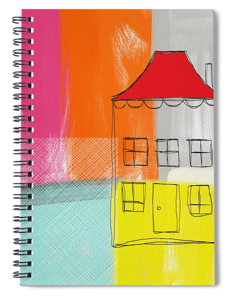 Abstract Landscape Spiral Notebook featuring the mixed media Weekend Escape by Linda Woods