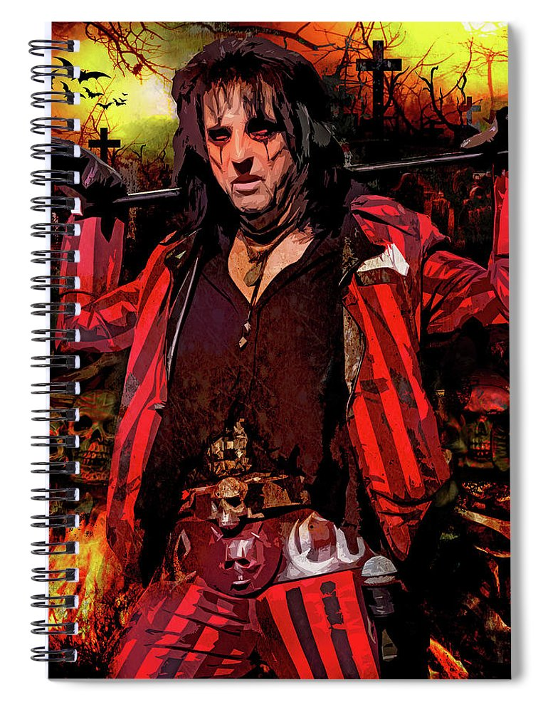 Alice Cooper Spiral Notebook featuring the digital art Welcome To My Nightmare by Mal Bray