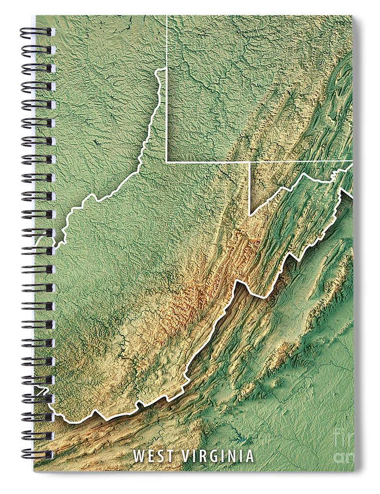 Topographic Map West Virginia.West Virginia State Usa 3d Render Topographic Map Spiral Notebook