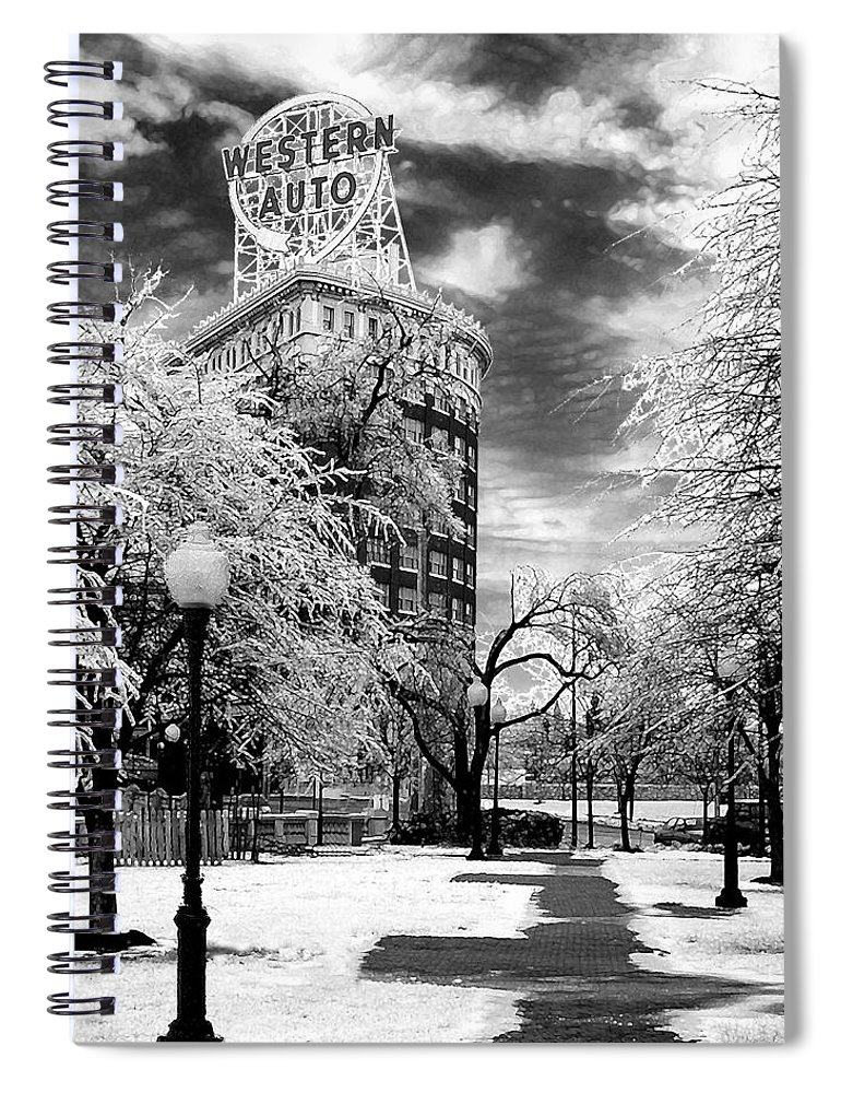 Western Auto Kansas City Spiral Notebook featuring the photograph Western Auto In Winter by Steve Karol