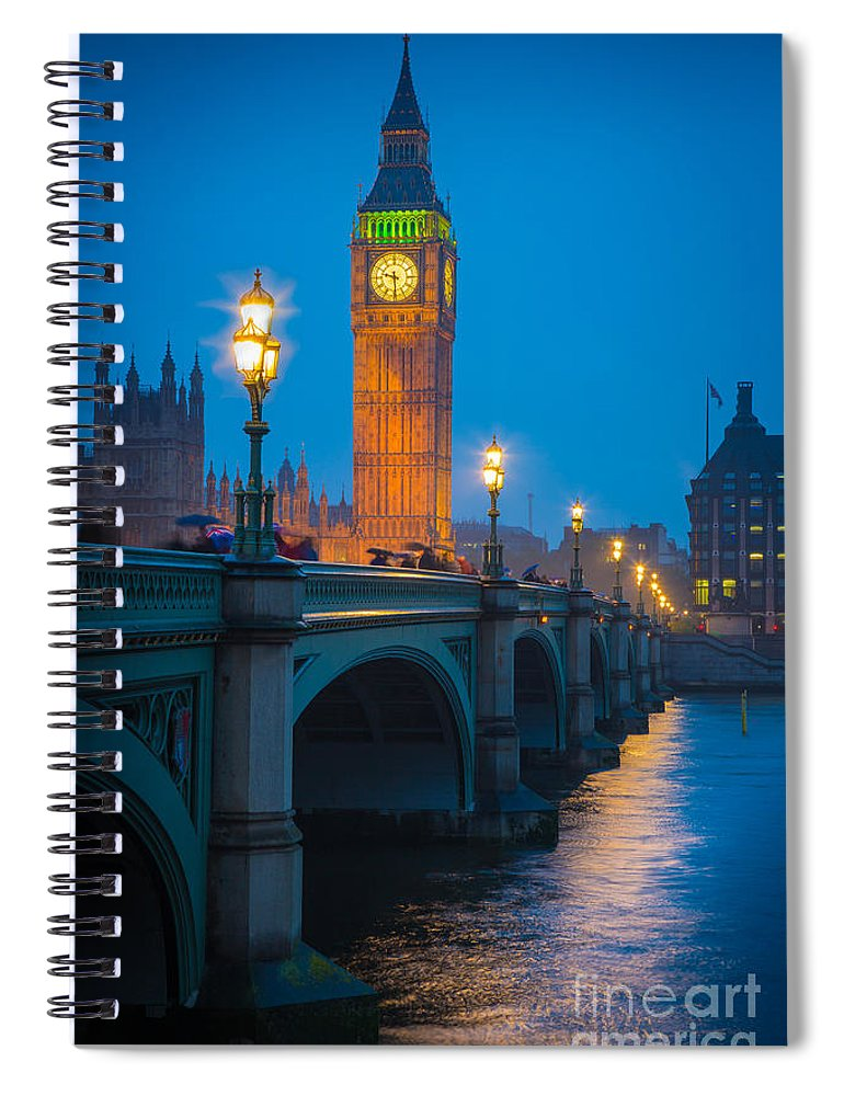Big Ben Spiral Notebook featuring the photograph Westminster Bridge At Night by Inge Johnsson