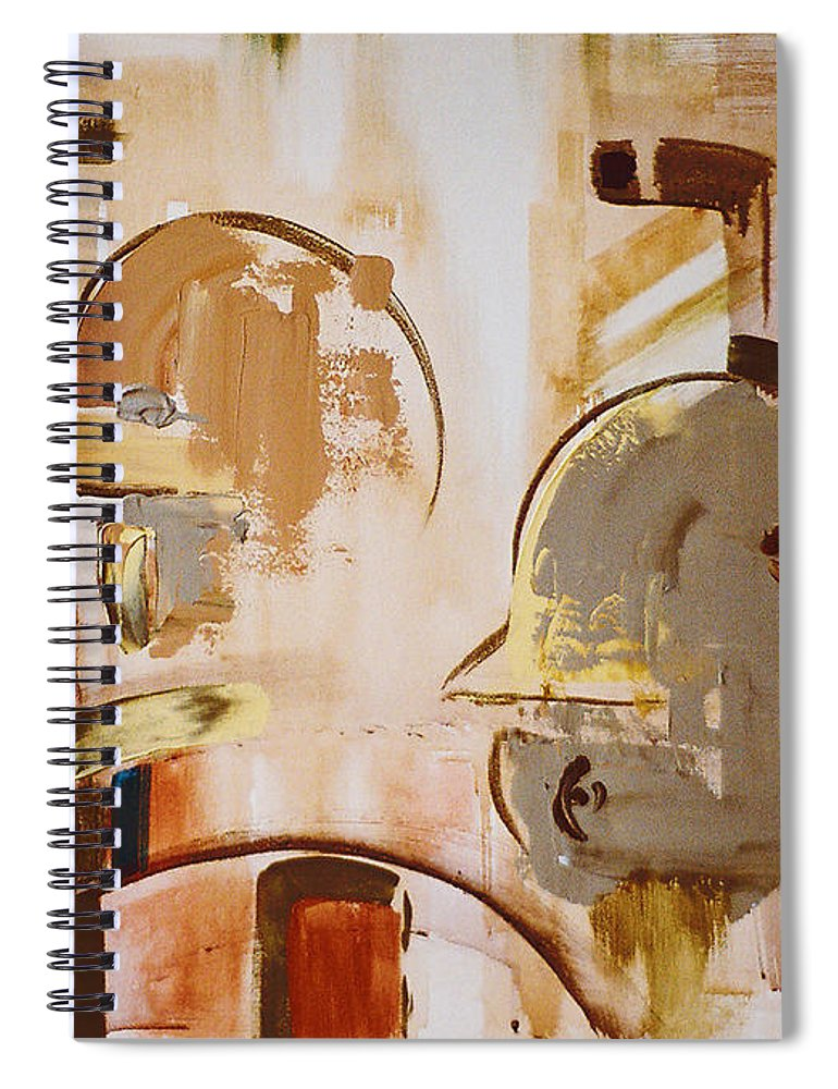 Abstract Spiral Notebook featuring the painting What is Identity by Stephen Lucas