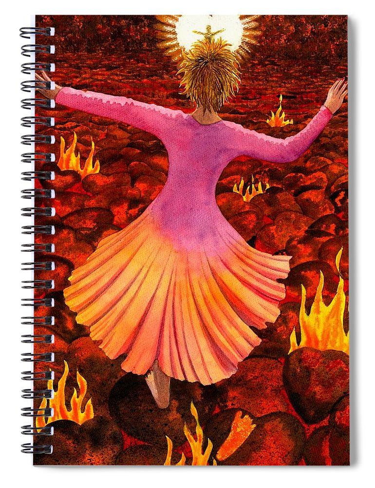 Valentine Spiral Notebook featuring the painting What We Do For Love by Catherine G McElroy