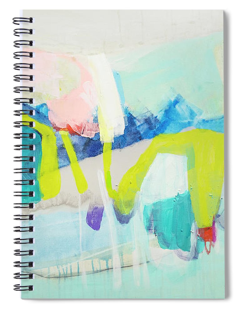 Abstract Spiral Notebook featuring the painting Whatever Makes You Happy by Claire Desjardins