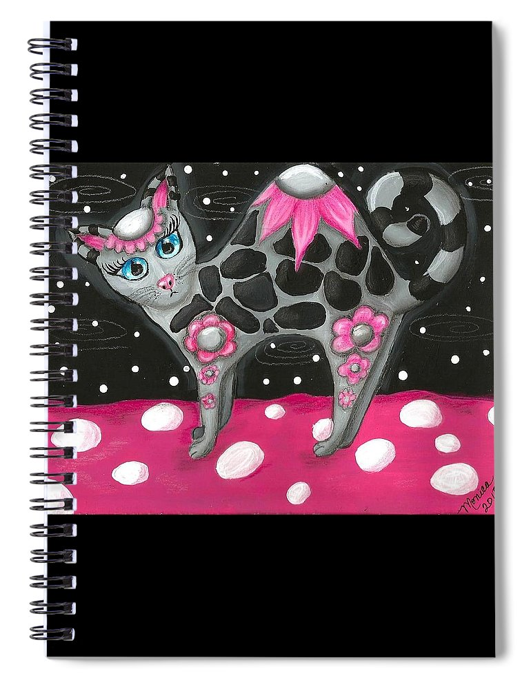 Pink Black Whimsical Kitty Cat Polka Dot Grey Blue Eyes Painting Colorful Vibrant Fun Spiral Notebook featuring the painting Whimsical Black Pink Floral Kitty Cat by Monica Resinger