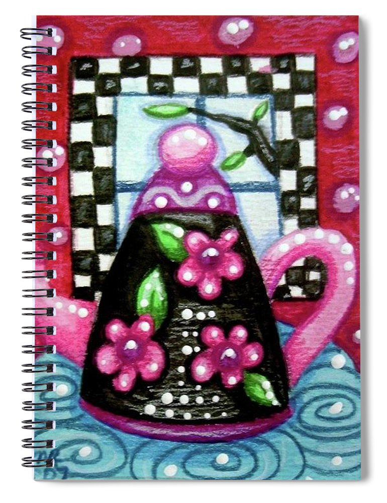 Tea Spiral Notebook featuring the painting Whimsical Black Teapot With Pink Flowers by Monica Resinger