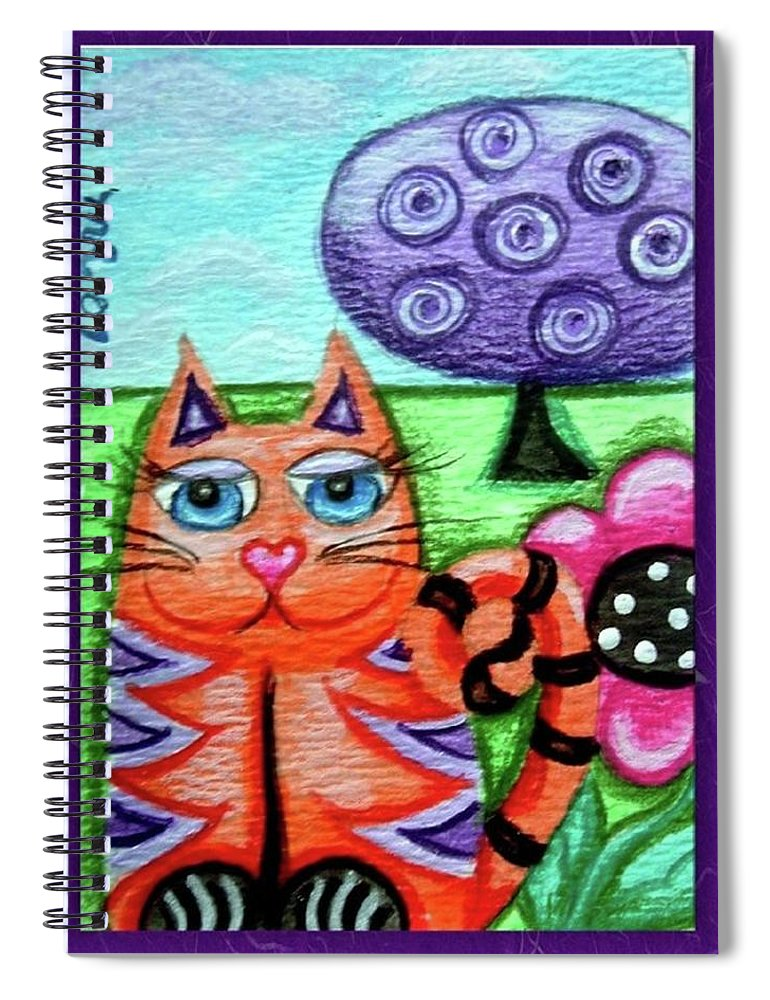 Kitty Spiral Notebook featuring the painting Whimsical Orange Striped Kitty Cat by Monica Resinger