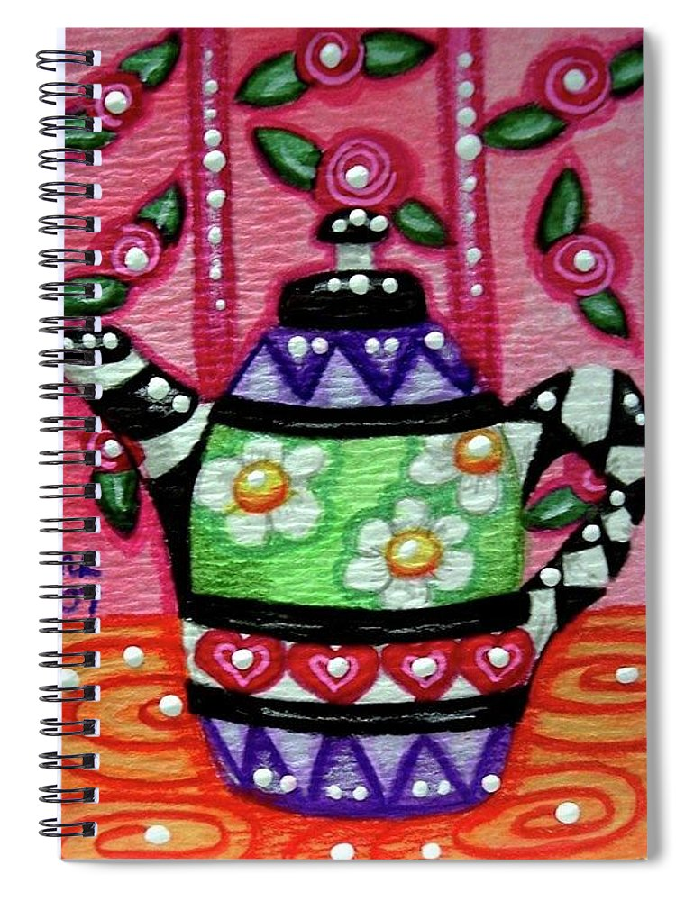Whimsical Spiral Notebook featuring the painting Whimsical Teapot With Rose Wallpaper by Monica Resinger