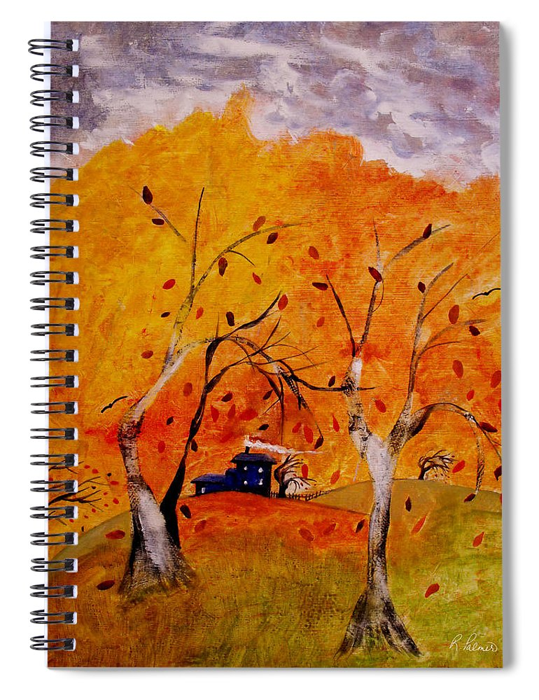 Abstract Spiral Notebook featuring the painting Whimsical Wind by Ruth Palmer