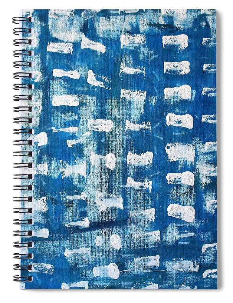 Blue Spiral Notebook featuring the painting Whispering Pines by Pam Roth O'Mara