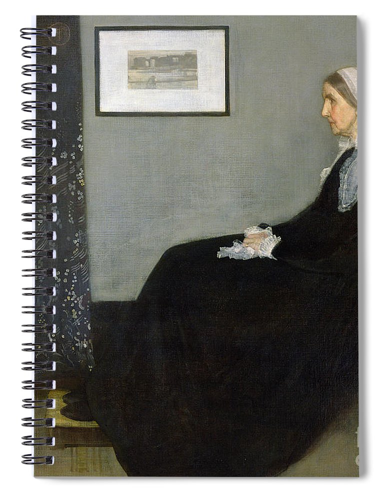 Whistlers Mother Spiral Notebook featuring the painting Whistlers Mother by James Abbott McNeill Whistler