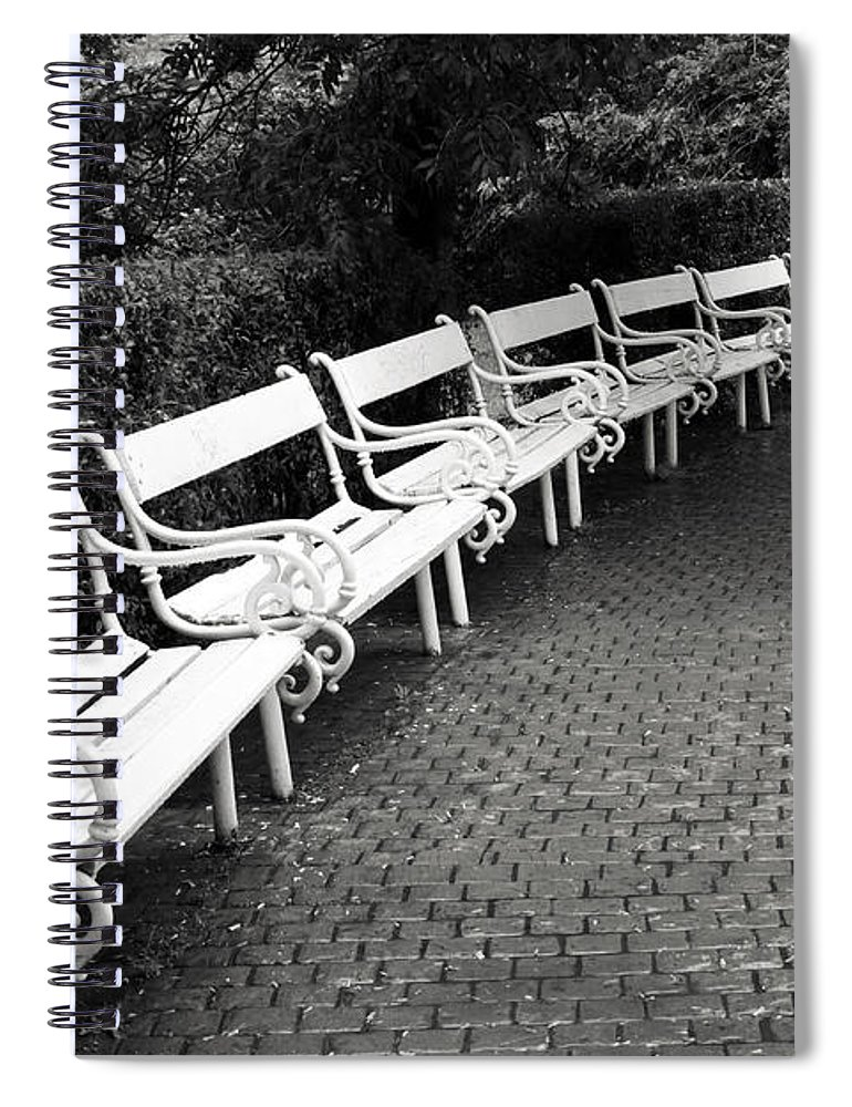 Black And White Spiral Notebook featuring the photograph White Benches- By Linda Wood Woods by Linda Woods