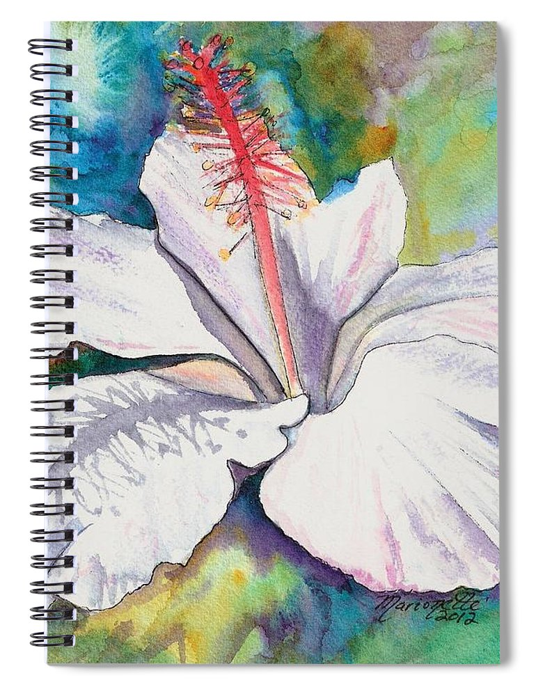 White Hibiscus Spiral Notebook featuring the painting White Hibiscus Waimeae by Marionette Taboniar