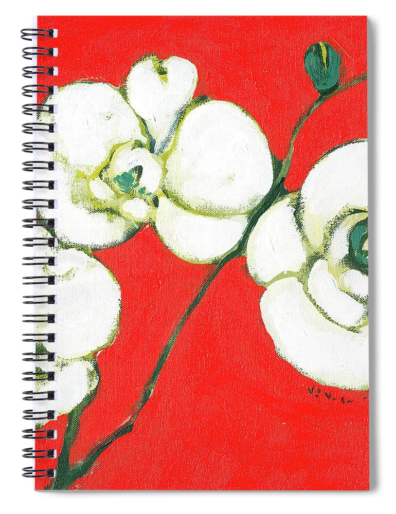 Asian Spiral Notebook featuring the painting White Orchid by Jennifer Lommers