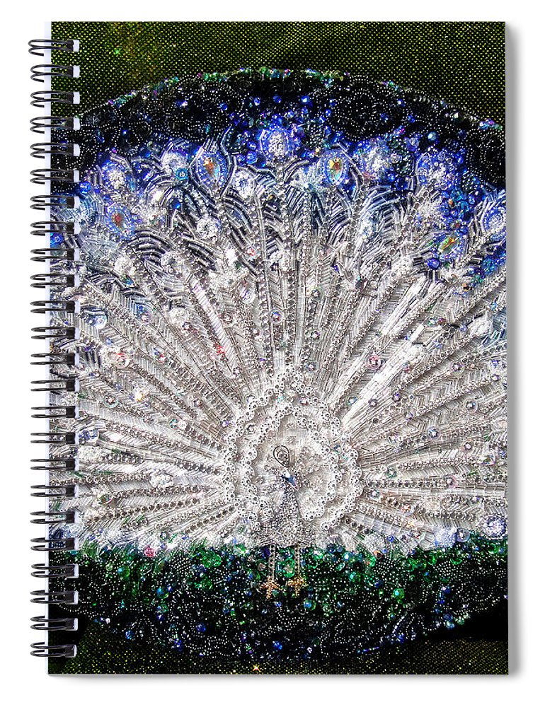 White Peacock Beadwork Bead Embroidery Spiral Notebook For Sale By