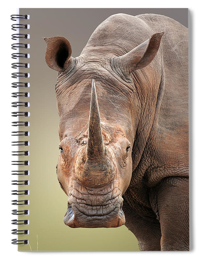 Square-lipped Spiral Notebook featuring the photograph White Rhinoceros Portrait by Johan Swanepoel