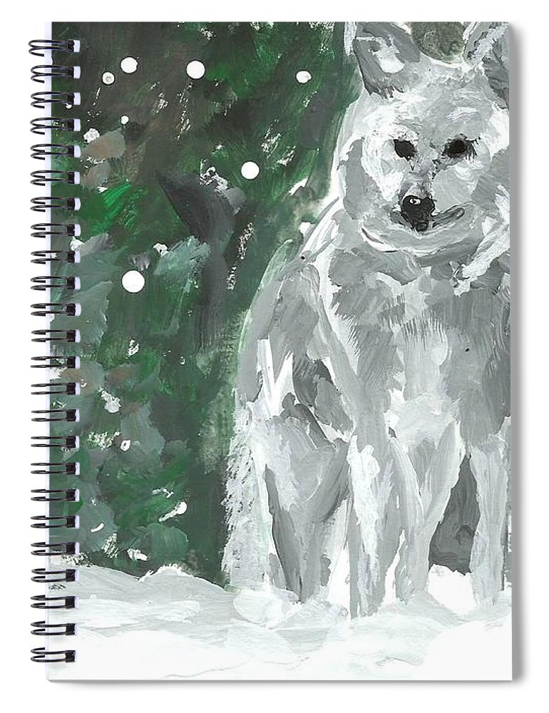 White Wolf Impressionism Art Painting Animal Forest Snow Woods Wildflife Spiral Notebook featuring the painting White Wolf Impressionism by Monica Resinger