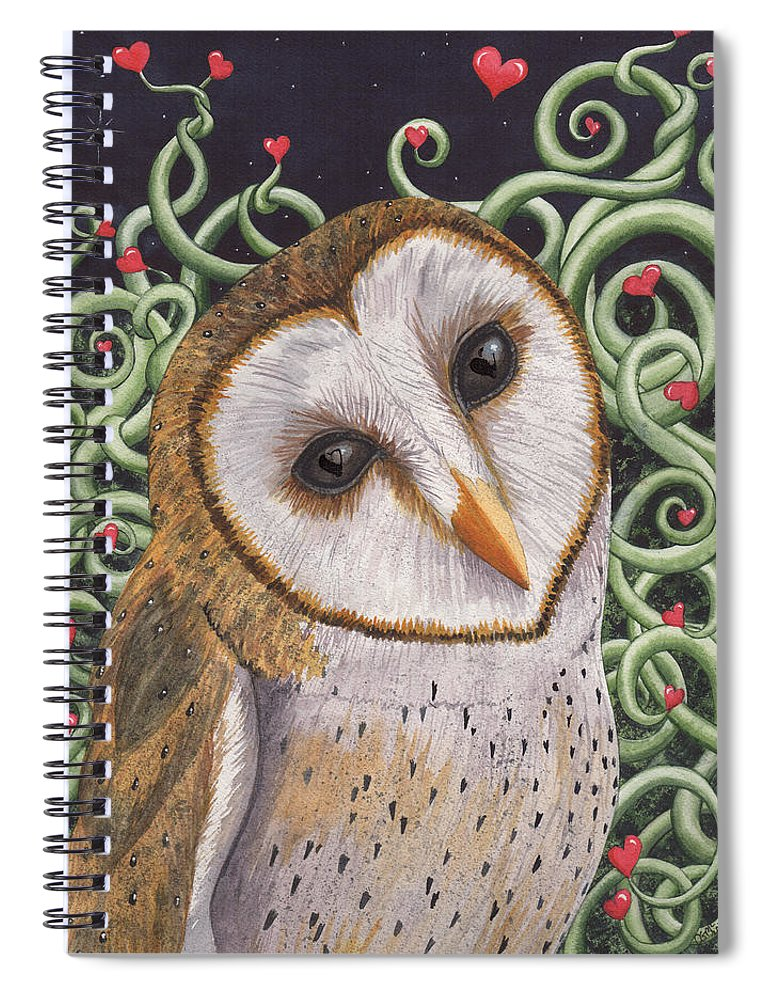 Owl Spiral Notebook featuring the painting Who do you love ? by Catherine G McElroy