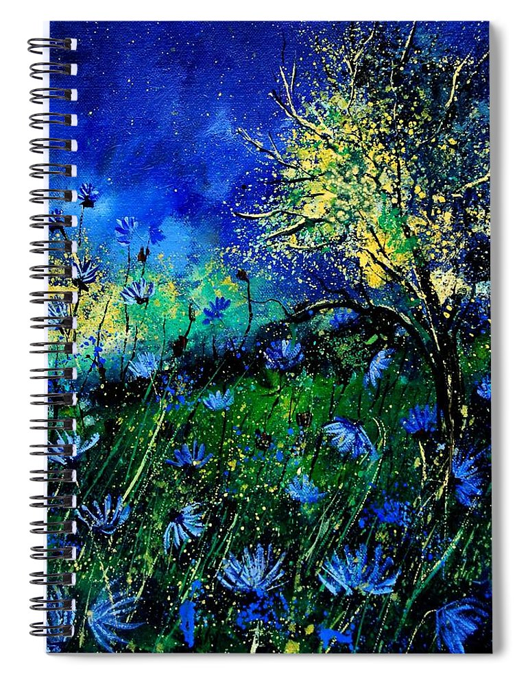 Poppies Spiral Notebook featuring the painting Wild Chocoree by Pol Ledent