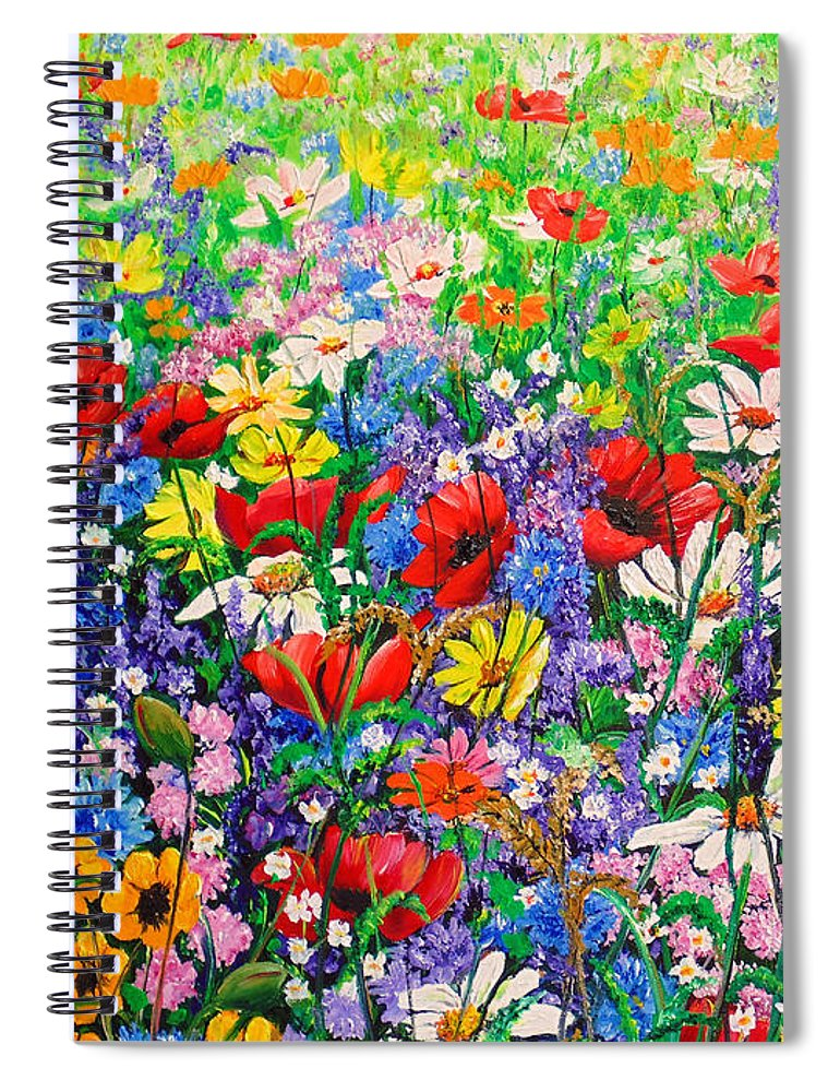 Wild Flowers Spiral Notebook featuring the painting Wild Flower Meadow by Karin Dawn Kelshall- Best