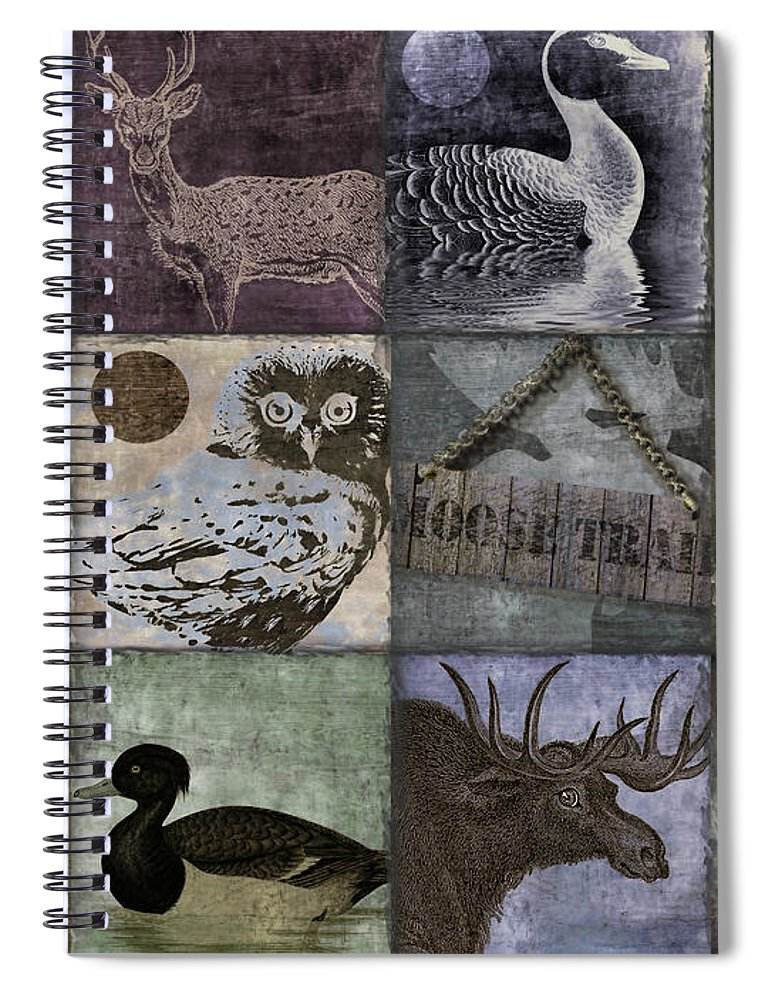 Mancave Spiral Notebook featuring the painting Wild Game Patchwork II by Mindy Sommers
