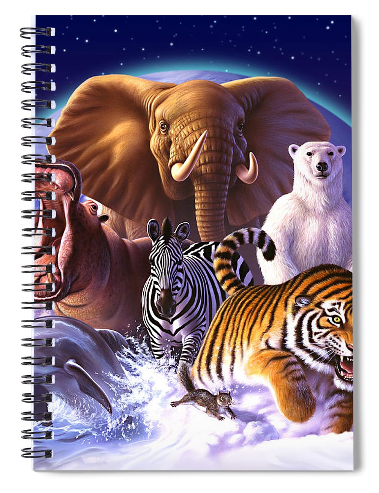 Mammals Spiral Notebook featuring the painting Wild World by Jerry LoFaro