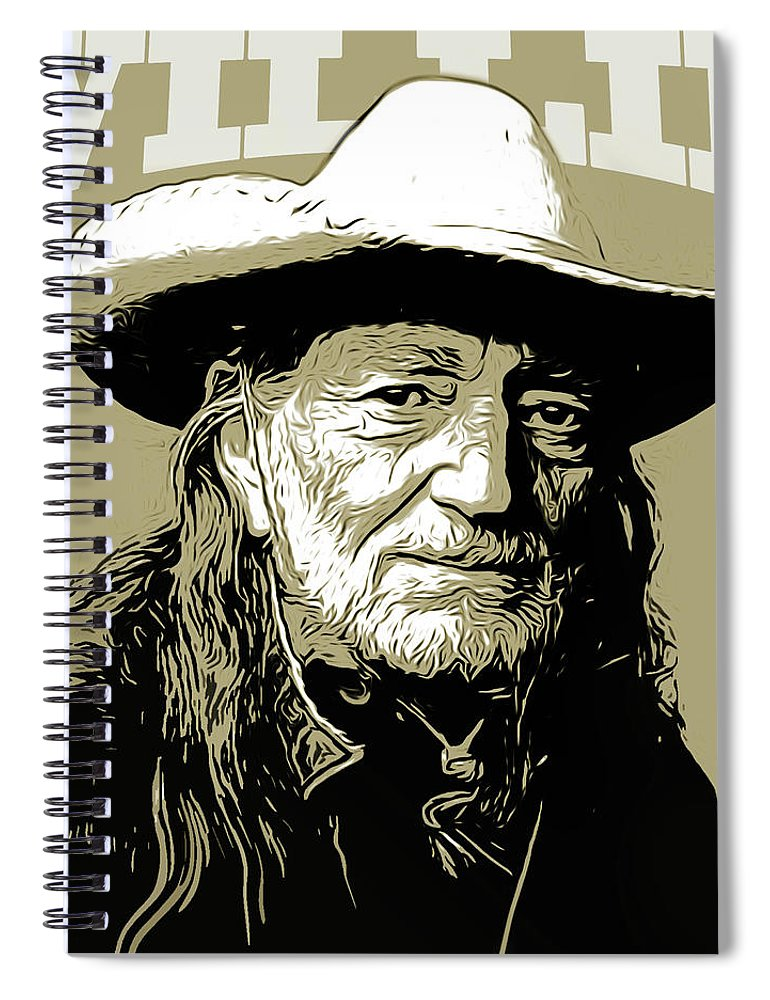 Willie Nelson Spiral Notebook featuring the mixed media Willie by Greg Joens