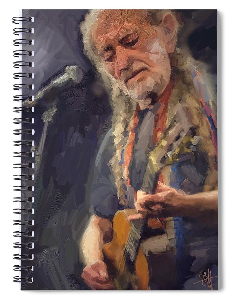 Willie Nelson Music Guitar {soc} Spiral Notebook featuring the digital art Willie by Scott Waters