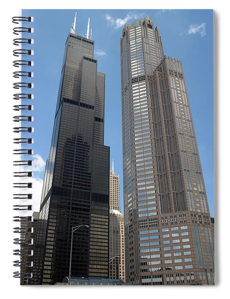 3scape Spiral Notebook featuring the photograph Willis Tower aka Sears Tower and 311 South Wacker Drive by Adam Romanowicz