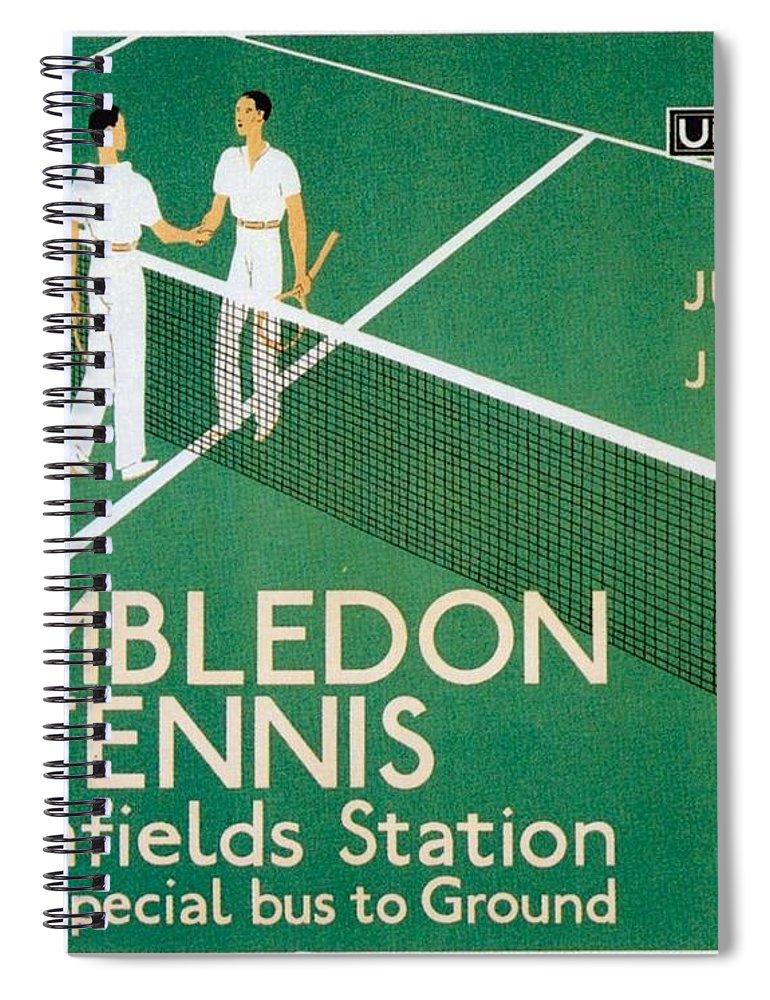 Wimbledon Spiral Notebook featuring the mixed media Wimbledon Tennis Southfield Station - London Underground - Retro Travel Poster - Vintage Poster by Studio Grafiikka
