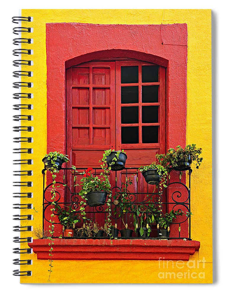 Window Spiral Notebook featuring the photograph Window On Mexican House by Elena Elisseeva