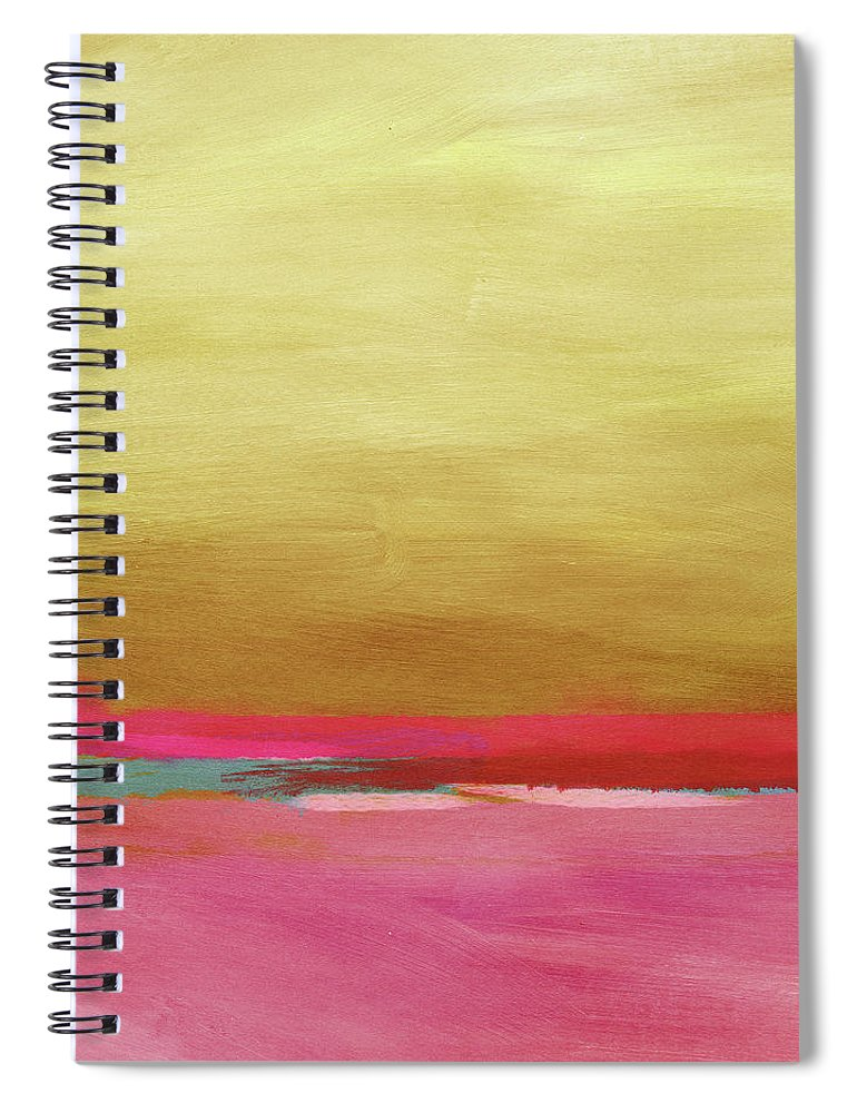 Abstract Spiral Notebook featuring the mixed media Windswept Sunrise- Art by Linda Woods by Linda Woods