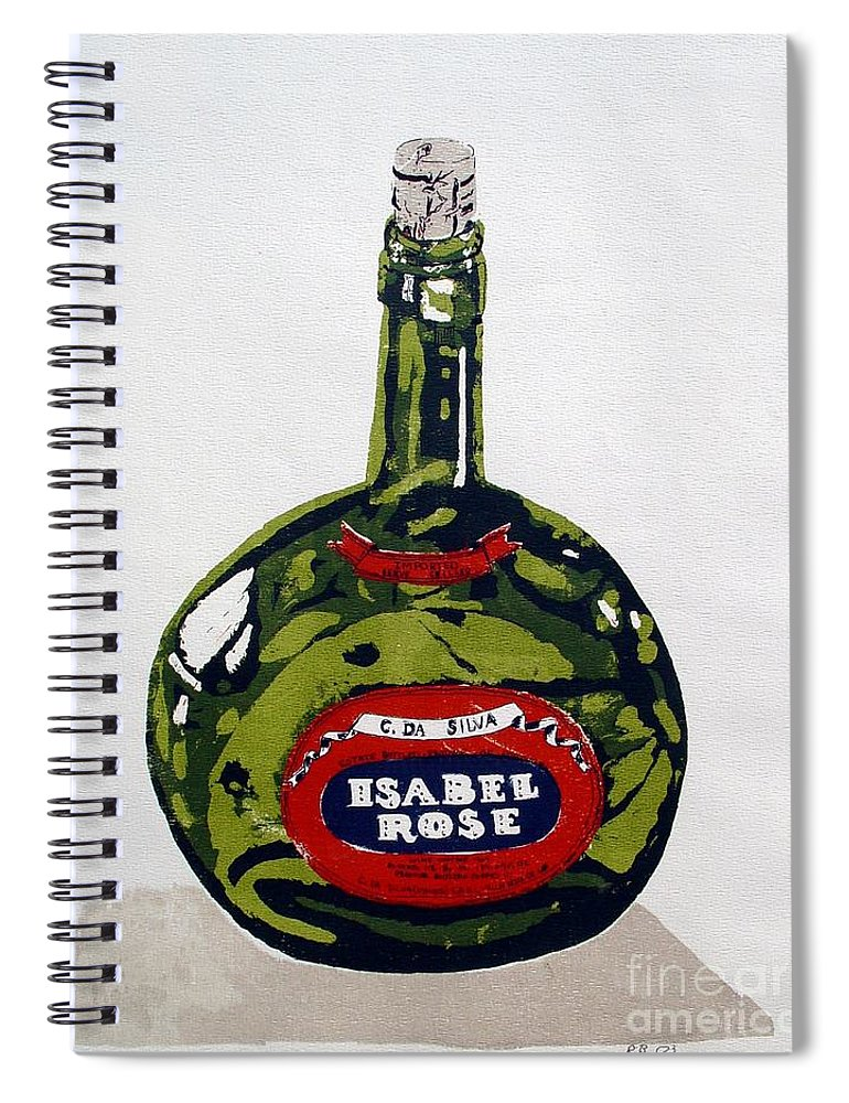 Silk Screen Spiral Notebook featuring the mixed media Wine Bottle by Ron Bissett