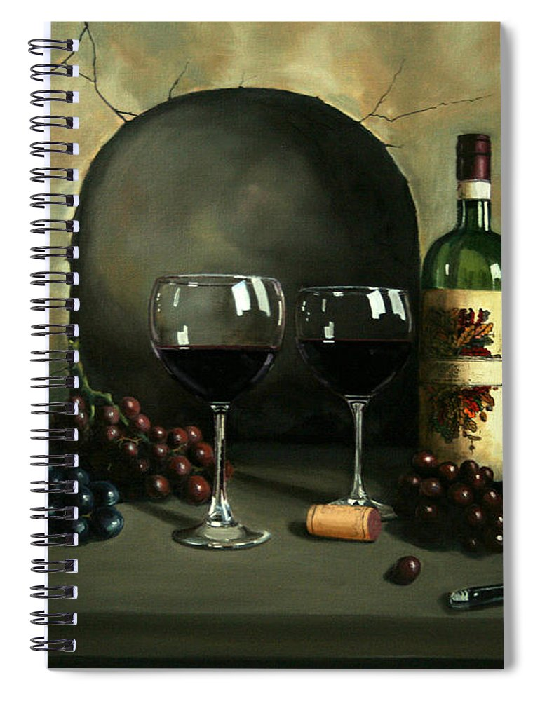 Wine Spiral Notebook featuring the painting Wine For Two by Paul Walsh