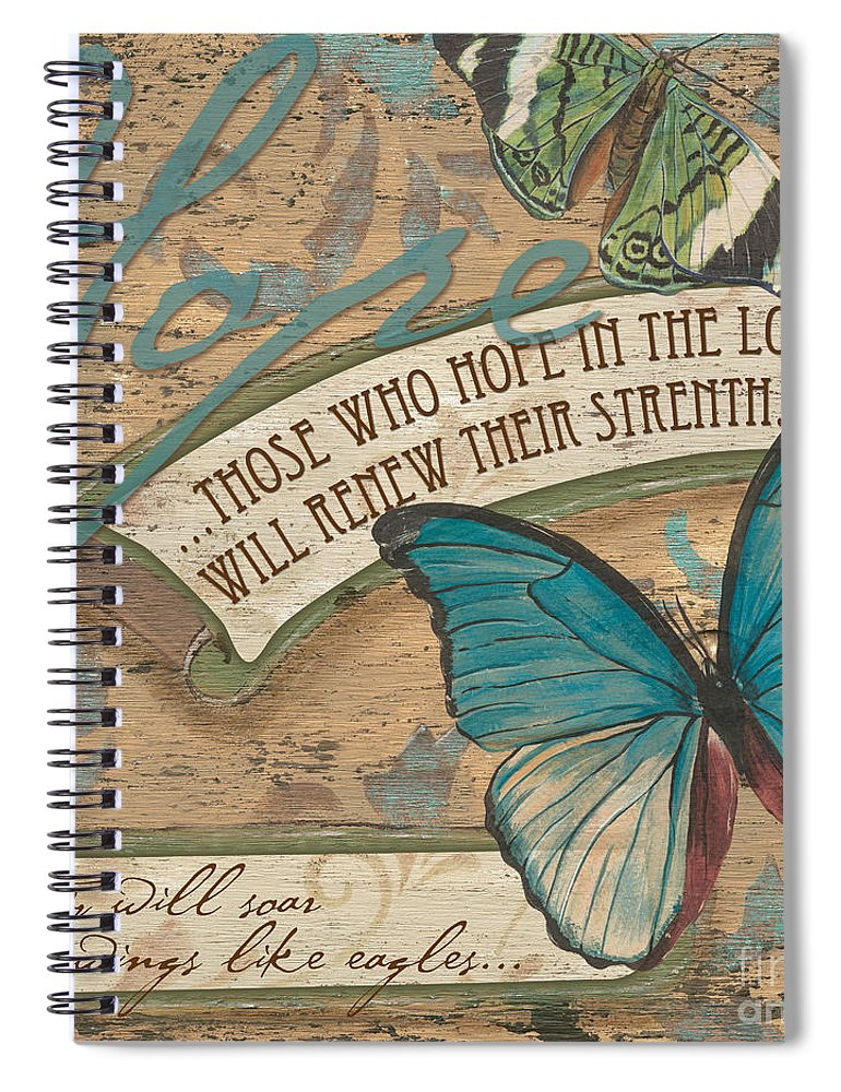 Butterfly Spiral Notebook featuring the painting Wings of Hope by Debbie DeWitt