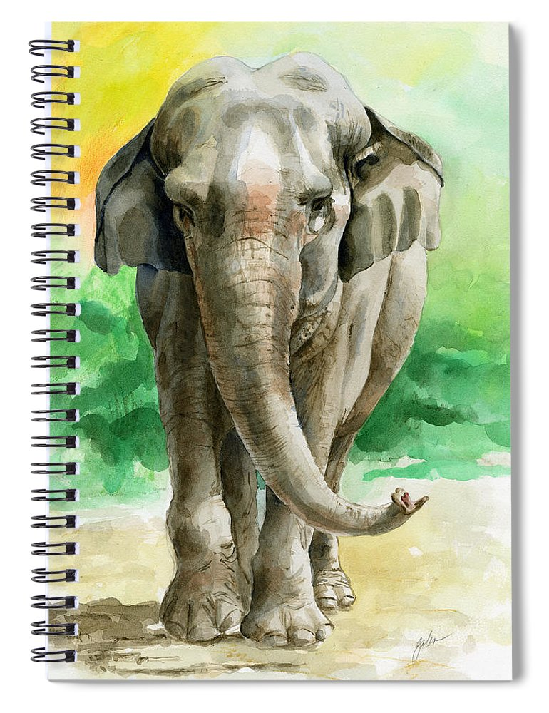 Elephant Spiral Notebook featuring the painting Winky by Galen Hazelhofer
