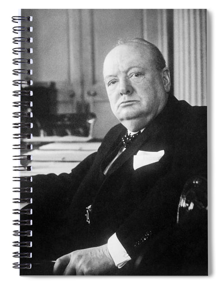 Sir Winston Churchill Spiral Notebook featuring the photograph Winston Churchill At Number 10 Downing Street by War Is Hell Store
